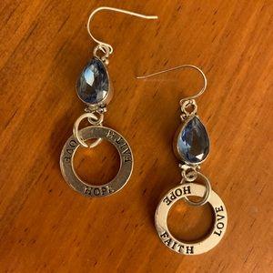 Blue quartz charm earrings